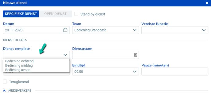 Dienst template selecteren